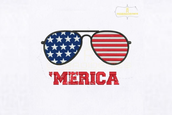 4th of July Merica Sunglasses Independence Day Embroidery Design By RoyalEmbroideries