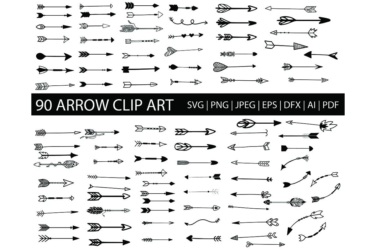 90 Hand Drawn Arrows Clip Art Bundle Graphic By Meshaarts