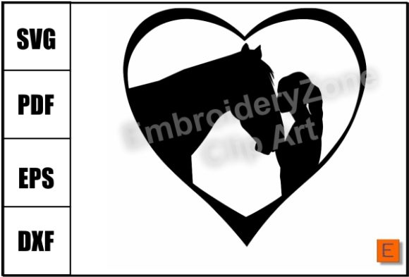 Download Free A Girl Kissing Her Horse Graphic By Embroidery Zone Designs for Cricut Explore, Silhouette and other cutting machines.