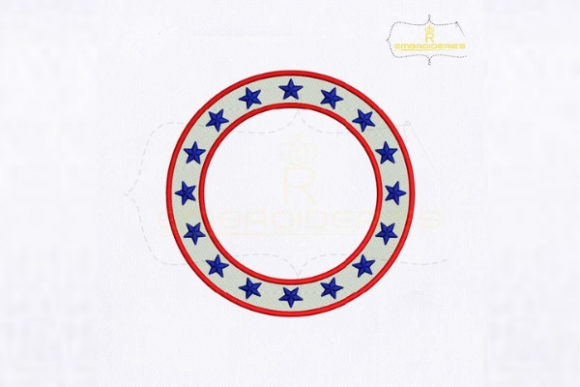 American Circle Monogram Independence Day Embroidery Design By RoyalEmbroideries