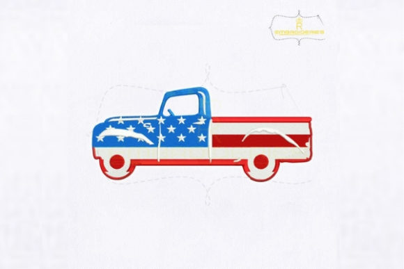 American Flag Car Independence Day Embroidery Design By royalembroideries