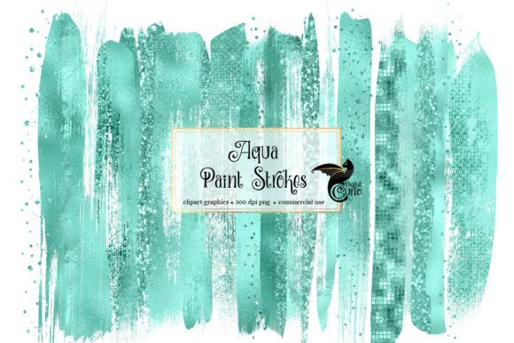 Print on Demand: Aqua Brush Strokes Clipart Graphic Illustrations By Digital Curio