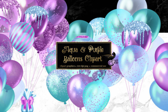Print on Demand: Aqua and Purple Balloons Clipart Graphic Illustrations By Digital Curio