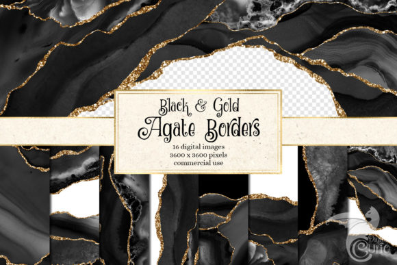 Download Free Black And Gold Agate Borders Graphic By Digital Curio Creative for Cricut Explore, Silhouette and other cutting machines.