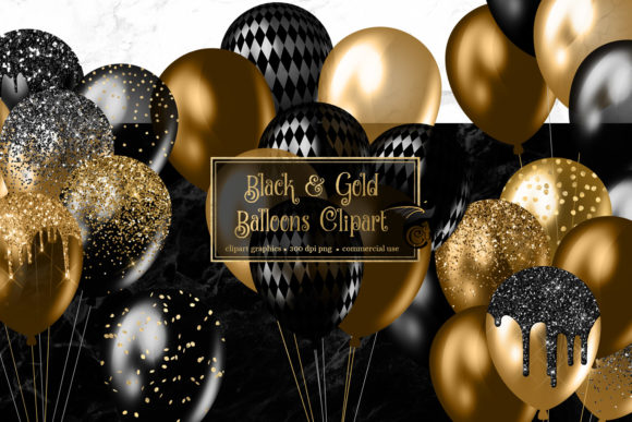Print on Demand: Black and Gold Balloons Clipart Graphic Illustrations By Digital Curio