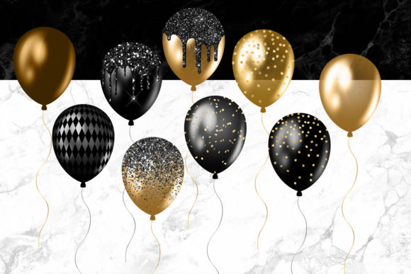 Download Free Black And Gold Balloons Clipart Graphic By Digital Curio for Cricut Explore, Silhouette and other cutting machines.