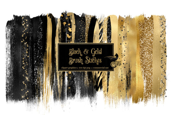 Download Free Black And Gold Brush Strokes Clipart Graphic By Digital Curio for Cricut Explore, Silhouette and other cutting machines.