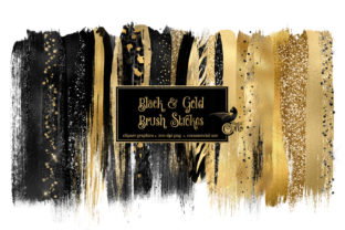 Print on Demand: Black and Gold Brush Strokes Clipart Graphic Illustrations By Digital Curio