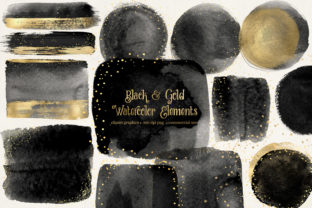 Print on Demand: Black and Gold Watercolor Elements Graphic Illustrations By Digital Curio
