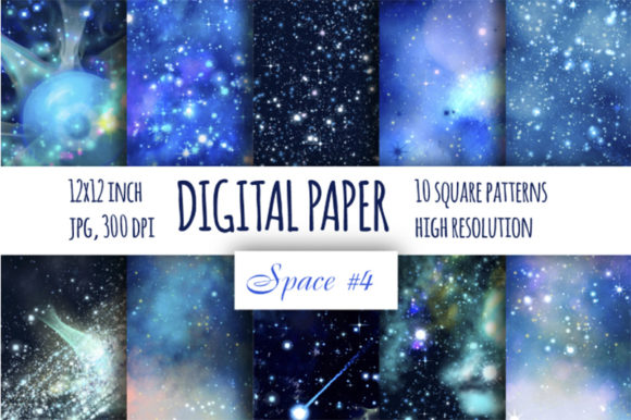 Print on Demand: Blue Galaxy Digital Paper Graphic Backgrounds By bunart