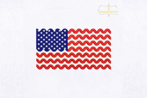 Chevron Stripe USA Flag Independence Day Embroidery Design By royalembroideries