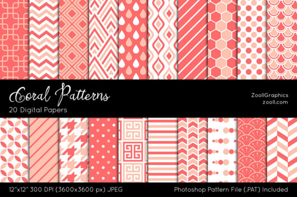 Coral Digital Papers Graphic Patterns By ZoollGraphics