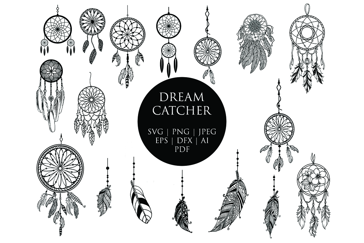 Download Free Dream Catcher Clip Art Bundle Graphic By Meshaarts Creative for Cricut Explore, Silhouette and other cutting machines.