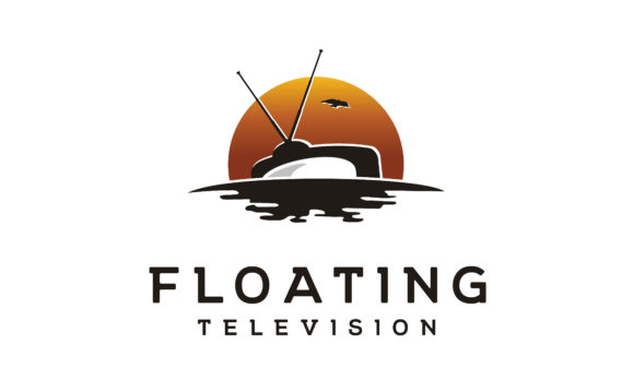 Download Free Floating Tv Sunset Ocean Wave Film Logo Graphic By Enola99d for Cricut Explore, Silhouette and other cutting machines.