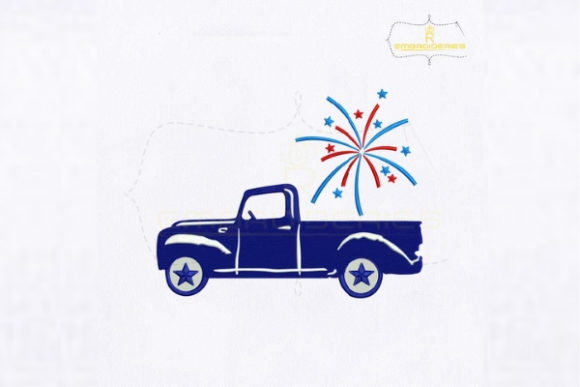 Fourth of July Fireworks Car Independence Day Embroidery Design By RoyalEmbroideries - Image 1