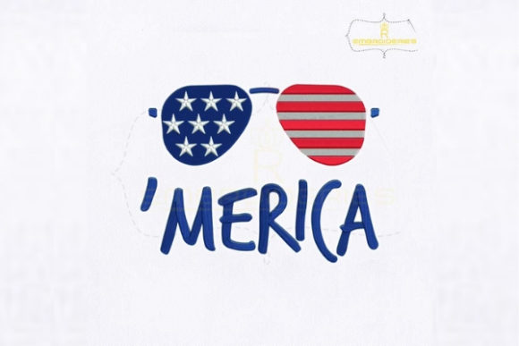 Fourth of July Merica Glasses Embroidery