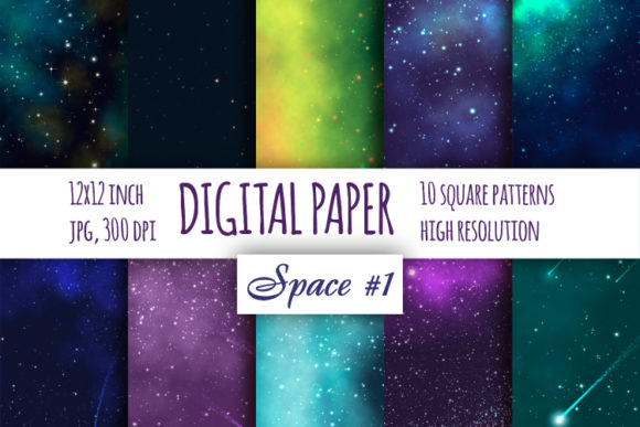 Print on Demand: Galaxy Digital Paper, Space Background Graphic Backgrounds By bunart