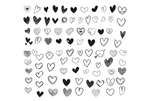 Download Free Hand Drawn Doodle Heart Bundle Graphic By Meshaarts Creative for Cricut Explore, Silhouette and other cutting machines.
