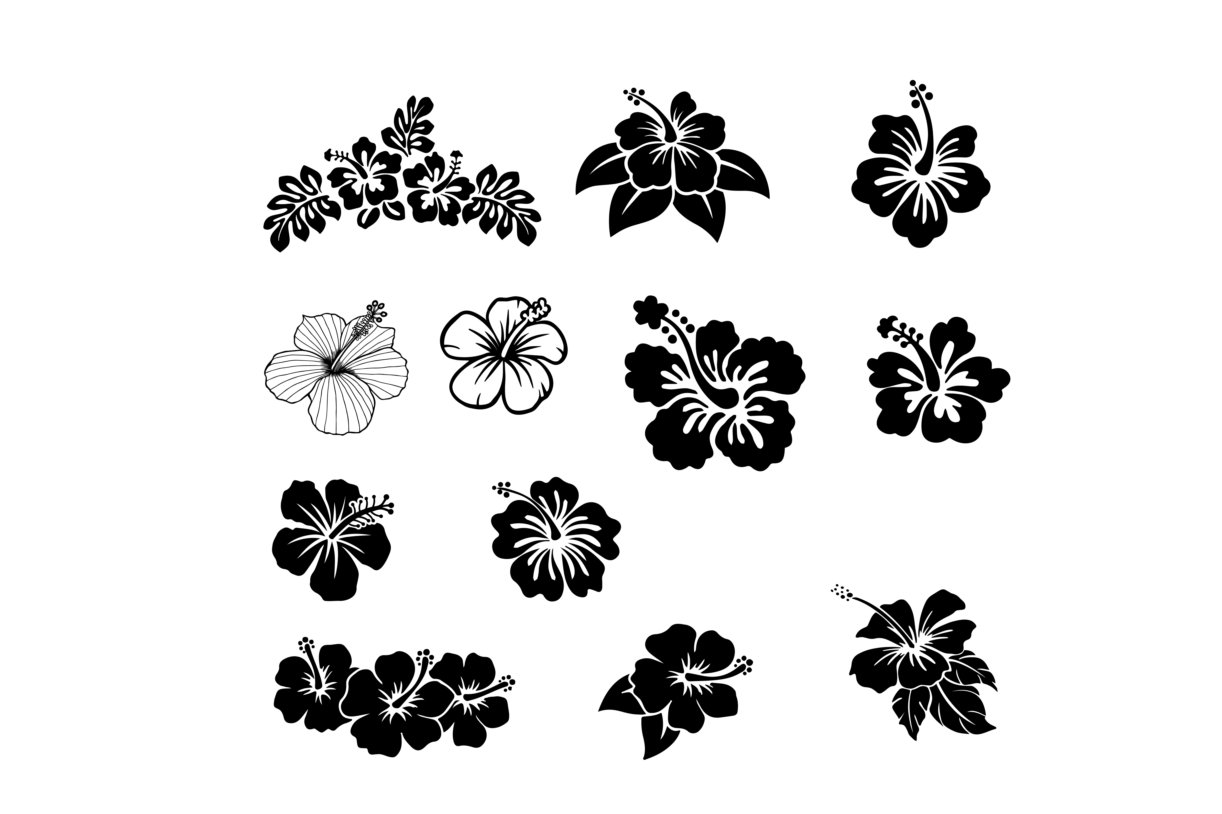 Download Free Hibiscus Flower Clip Art Bundle Graphic By Meshaarts Creative for Cricut Explore, Silhouette and other cutting machines.
