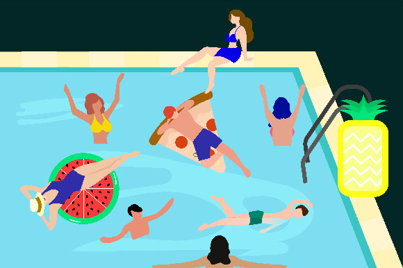 Download Free Illustration Pool Party Night Graphic By Griyolabs Creative for Cricut Explore, Silhouette and other cutting machines.
