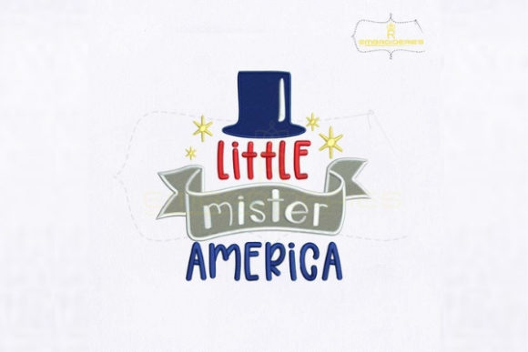 Little Mister America Hat Independence Day Embroidery Design By RoyalEmbroideries