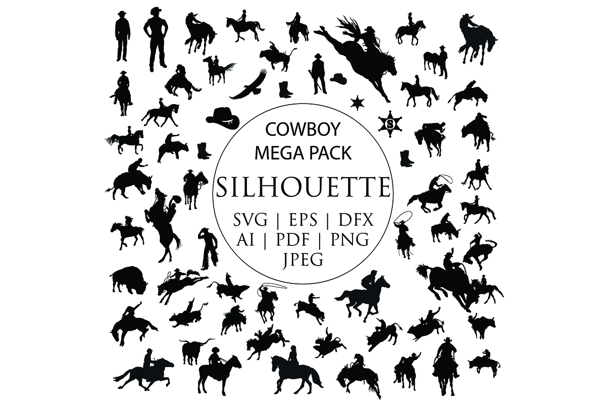 Download Free Mega Pack Cowboy Clip Art Bundle Graphic By Meshaarts Creative for Cricut Explore, Silhouette and other cutting machines.
