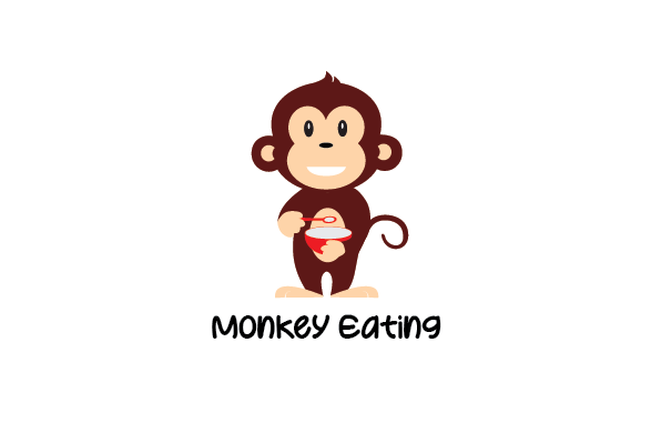Download Free Monkey Eating Graphic By Redvy Creative Creative Fabrica for Cricut Explore, Silhouette and other cutting machines.