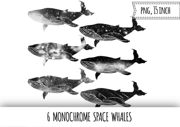 Print on Demand: Monochrome Space Whales Clipart Graphic Illustrations By bunart