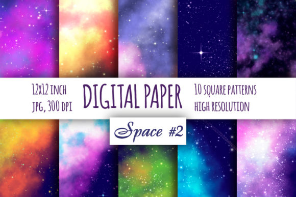 Print on Demand: Night Sky Digital Paper, Galaxy Patterns Graphic Backgrounds By bunart
