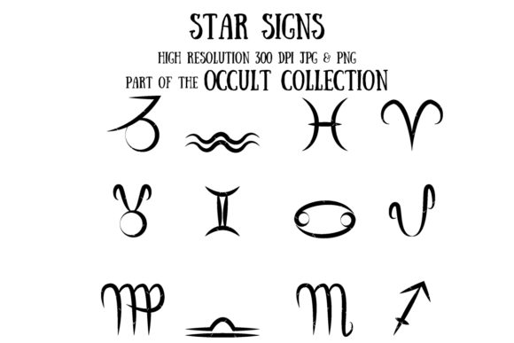 Occult Collection: Star Signs (symbols) Graphic Illustrations By My Little Black Heart