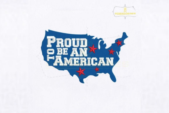 Proud to Be an American Map Independence Day Embroidery Design By royalembroideries