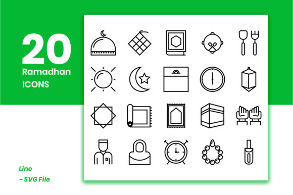 Download Free Ramadhan Icons Pack Graphic By Masyafi Creative Studio for Cricut Explore, Silhouette and other cutting machines.