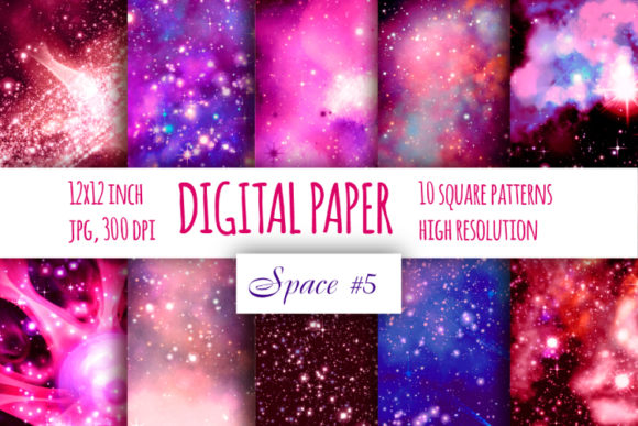 Print on Demand: Red Galaxy Digital Paper Graphic Backgrounds By bunart