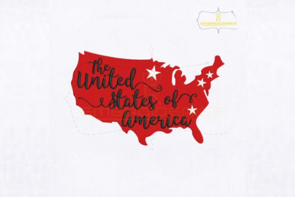 The United States of America Map Independence Day Embroidery Design By RoyalEmbroideries
