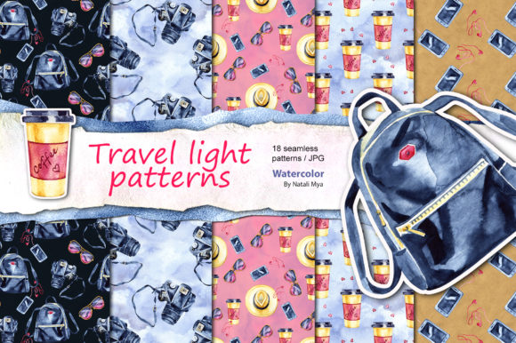 Travel Light - Seamless Patterns Graphic Illustrations By NataliMyaStore - Image 1