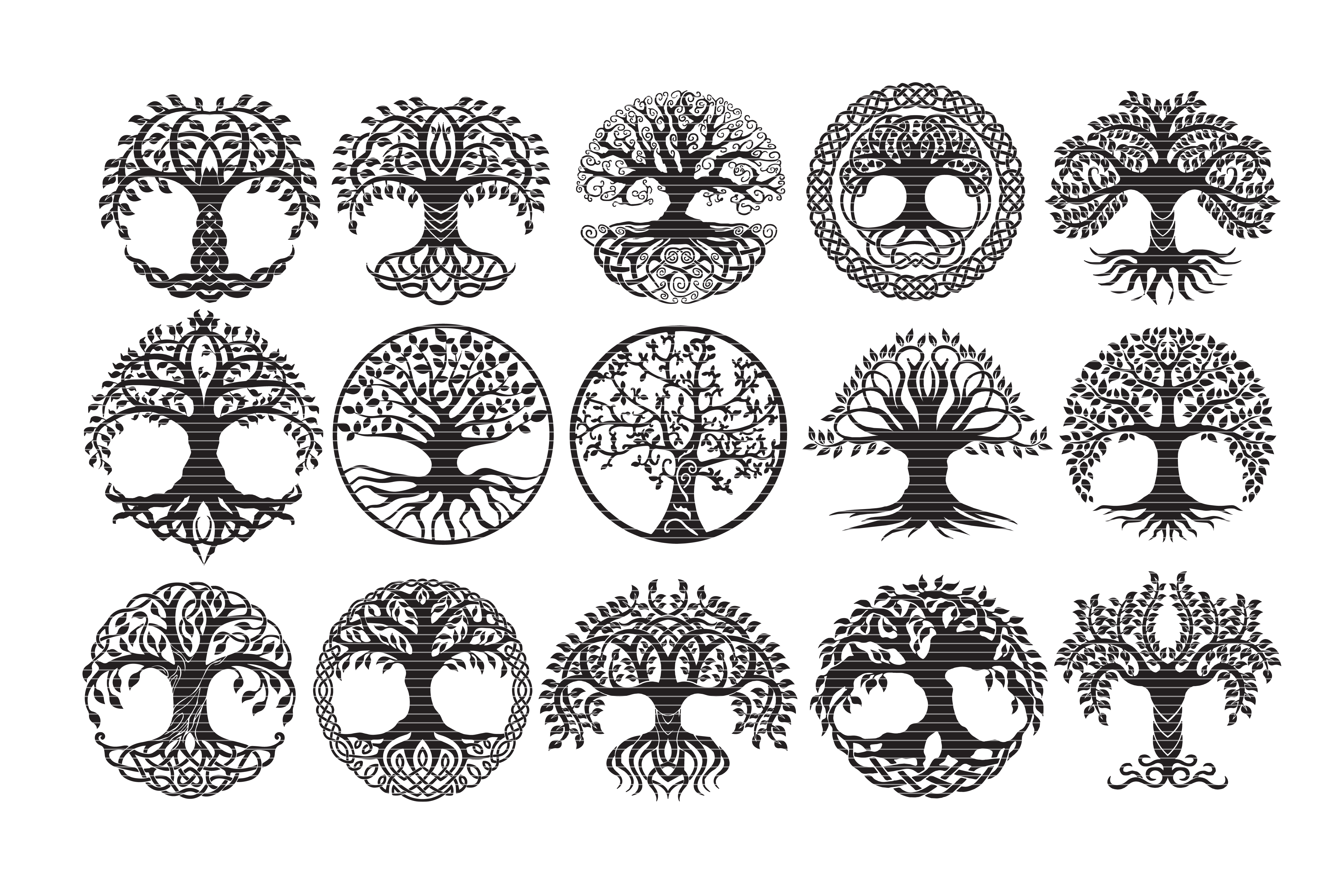 Download Free Tree Of Life Bundle Clip Art Graphic By Meshaarts Creative Fabrica for Cricut Explore, Silhouette and other cutting machines.