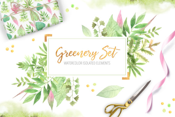 Watercolor Greenery Floral Set Graphic Illustrations By Larysa Zabrotskaya