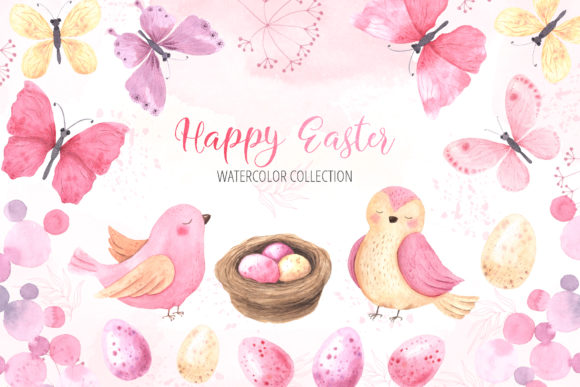 Watercolor Happy Easter Collection Graphic Illustrations By Larysa Zabrotskaya