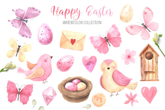 Watercolor Happy Easter Collection Graphic Illustrations By Larysa Zabrotskaya - Image 2