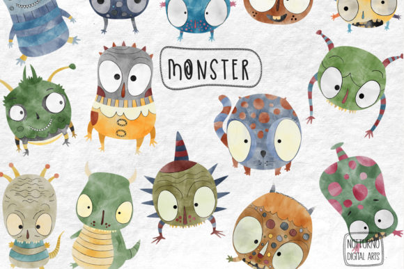 Watercolor Monster Clipart Graphic Crafts By NotturnoClipArt