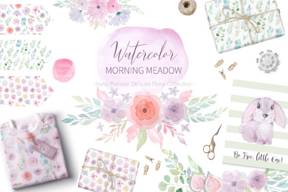 Watercolor Morning Meadow Floral Set Graphic Illustrations By Larysa Zabrotskaya