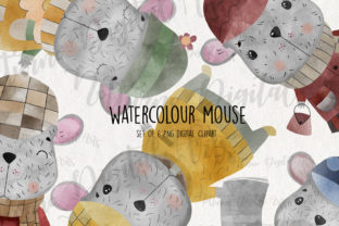 Print on Demand: Watercolor Mouse Clipart for Scrapbookin Graphic Crafts By NotturnoClipArt