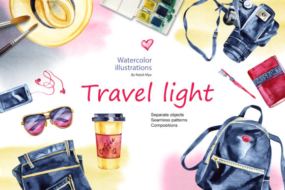 Watercolor Travel Light Cliparts Graphic Illustrations By NataliMyaStore