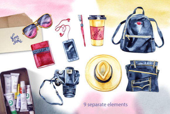Watercolor Travel Light Cliparts Graphic Illustrations By NataliMyaStore - Image 2