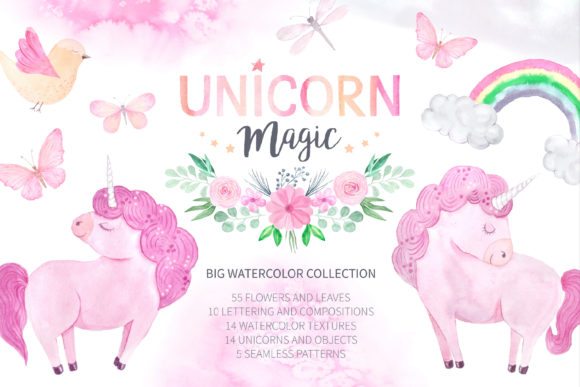 Download Free Watercolor Unicorn Design Set Graphic By Larysa Zabrotskaya for Cricut Explore, Silhouette and other cutting machines.