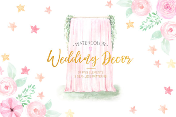 Watercolor Wedding Decor Set Graphic Illustrations By Larysa Zabrotskaya