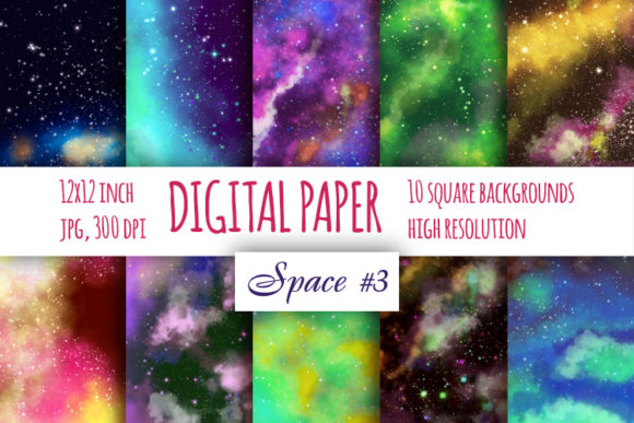 Print on Demand: Watercolor Galaxy Digital Paper Graphic Backgrounds By bunart