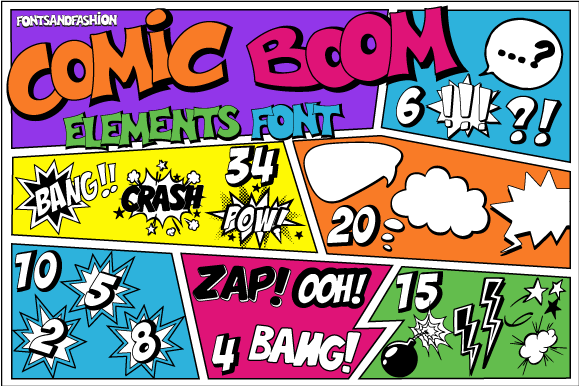 Print on Demand: Comic Boom Element Dingbats Font By Fontsandfashion