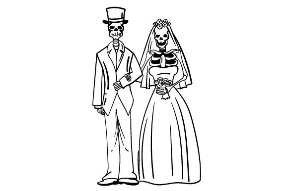 Skeleton Bride and Groom Wedding Craft Cut File By Creative Fabrica Crafts