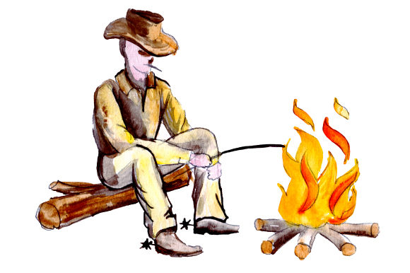 Cowboy Sitting by Fire Farm & Country Craft Cut File By Creative Fabrica Crafts